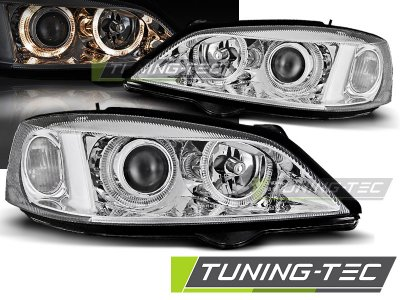 Передняя альтернативная оптика Angel Eyes Chrome от Tuning-Tec на Opel Astra G