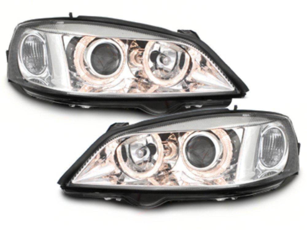 Фары передние Angel Eyes Chrome на Opel Astra G