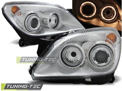 Передние фары с ангельскими глазками Chrome от Tuning-Tec на Opel Astra H