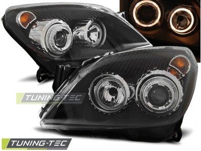 Передние фары с ангельскими глазками Black от Tuning-Tec на Opel Astra H