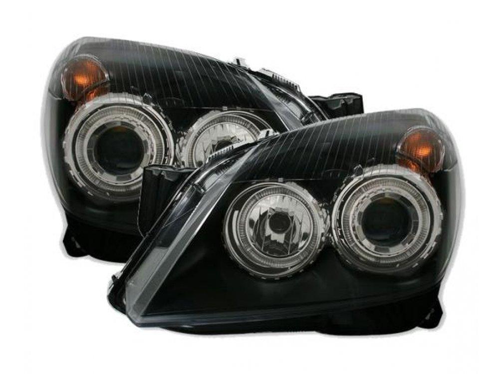 Фары передние Angel Eyes Black от JOM на Opel Astra H