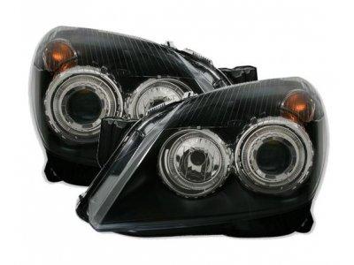 Передние фары с ангельскими глазками Black от JOM на Opel Astra H