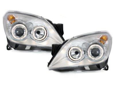 Передние фары с ангельскими глазками Chrome на Opel Astra H