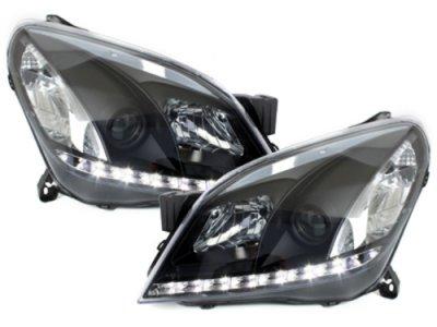 Передние фары LED Dayline Black Var2 на Opel Astra H