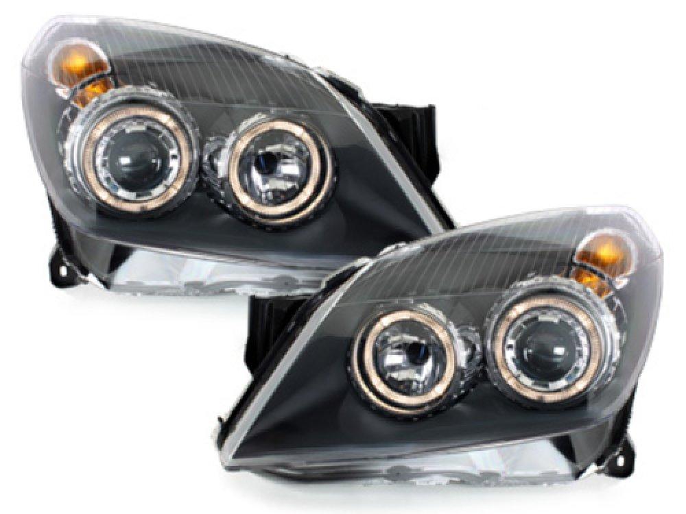 Фары передние Angel Eyes Black на Opel Astra H