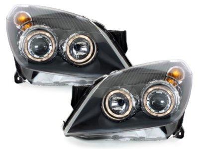 Передние фары с ангельскими глазками Black на Opel Astra H