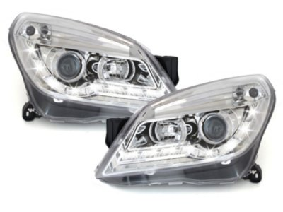 Передняя альтернативная оптика Dayline Chrome на Opel Astra H