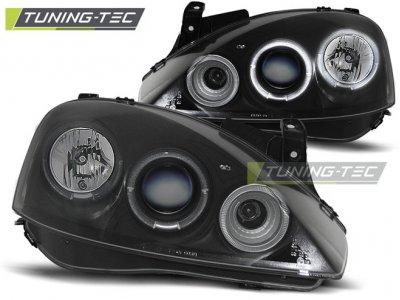 Передние фары с ангельскими глазками Black от Tuning-Tec на Opel Corsa C