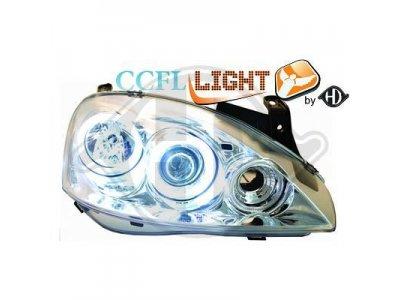 Передние фары CCFL Angel Eyes Chrome на Opel Corsa C