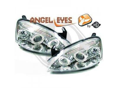 Передние фары с ангельскими глазками Chrome от HD на Opel Corsa C