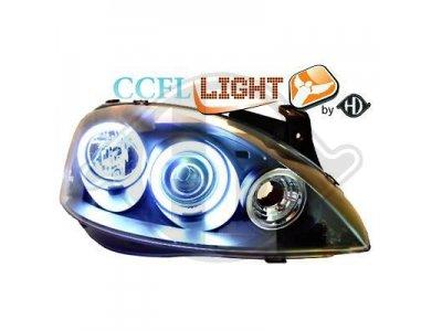 Передние фары CCFL Angel Eyes Black Var2 на Opel Corsa C