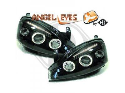 Передние фары с ангельскими глазками Black от HD на Opel Corsa C
