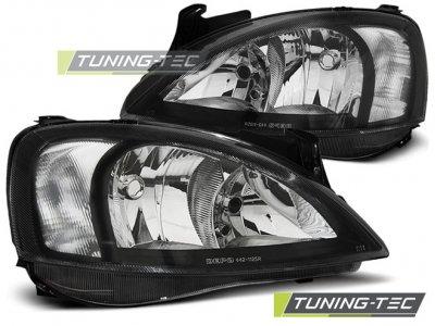 Передние тюнинговые фары Black от Tuning-Tec на Opel Corsa C