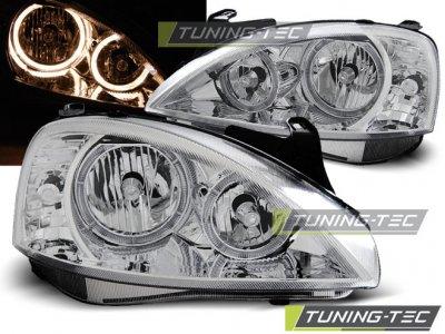 Передняя альтернативная оптика Angel Eyes Chrome Var2 от Tuning-Tec на Opel Corsa C