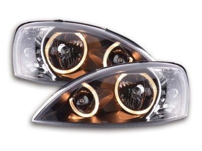 Передние тюнинговые фары Angel Eyes Black Var2 на Opel Corsa C