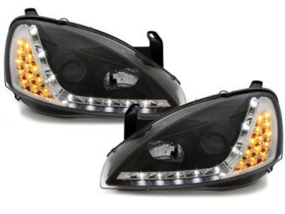 Передние фары Dayline LED Black на Opel Corsa C