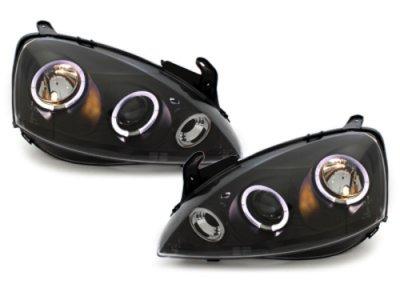 Передняя альтернативная оптика Angel Eyes Black на Opel Corsa C