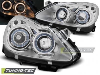 Передние фары с ангельскими глазками Chrome на Opel Corsa D
