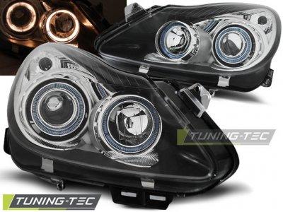 Передние фары с ангельскими глазками Black Var2 на Opel Corsa D