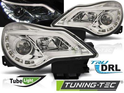 Передние фары DevilEyes Chrome от Tuning-Tec на Opel Corsa D рестайл