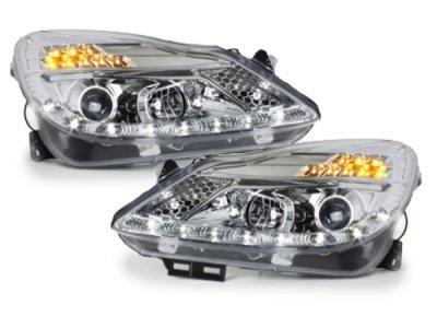 Передняя альтернативная оптика LED Dayline Chrome на Opel Corsa D