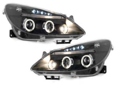 Передняя альтернативная оптика Angel Eyes Black на Opel Corsa D
