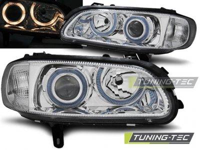 Фары передние Angel Eyes Chrome от Tuning-Tec на Opel Omega B