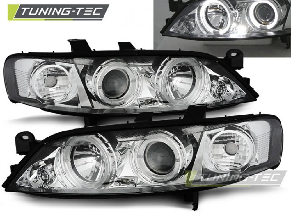 Фары передние LED Angel Eyes Chrome от Tuning-Tec на Opel Vectra B