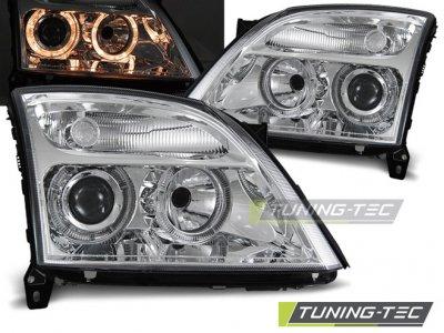 Передние фары с ангельскими глазками Chrome от Tuning-Tec на Opel Vectra C