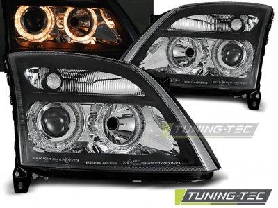 Передние фары с ангельскими глазками Black от Tuning-Tec на Opel Vectra C