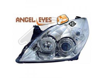 Передние фары Angel Eyes Chrome от HD на Opel Vectra C рестайл