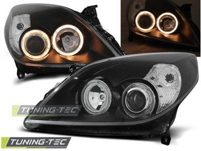 Передние тюнинговые фары Angel Eyes Black от Tuning-Tec на Opel Vectra C рестайл