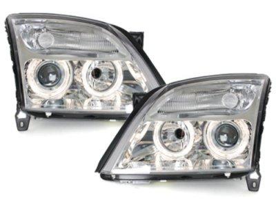 Передняя альтернативная оптика Angel Eyes Chrome на Opel Vectra C
