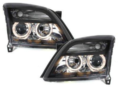 Передняя альтернативная оптика Angel Eyes Black на Opel Vectra C