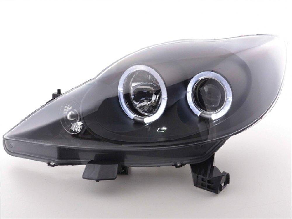 Фары передние Angel Eyes Black на Peugeot 107