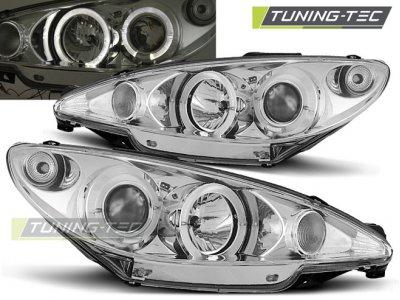 Передние тюнинговые фары Angel Eyes Chrome от Tuning-Tec на Peugeot 206