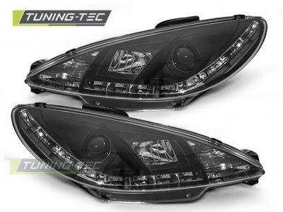 Передние фары с дневными ходовыми огнями Daylight Black от Tuning-Tec на Peugeot 206