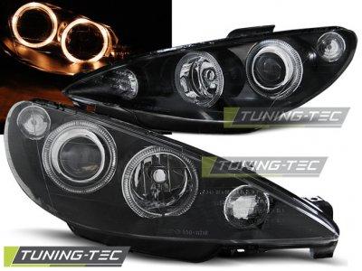 Передние фары с ангельскими глазками Black Var2 от Tuning-Tec на Peugeot 206 рестайл