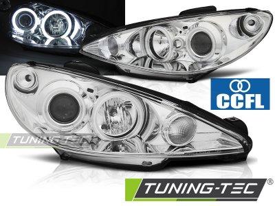 Передние фары CCFL Angel Eyes Chrome на Peugeot 206 рестайл