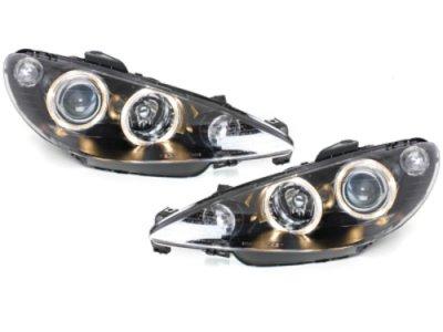 Передняя альтернативная оптика Eyes Black на Peugeot 206 рестайл