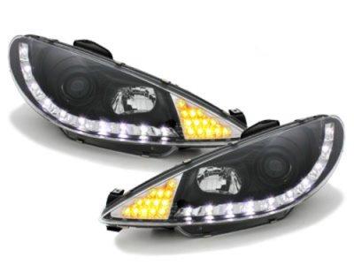 Передние фары с DRL огнями LED Dayline Black на Peugeot 206