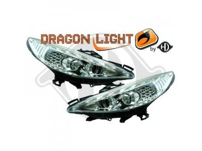 Фары передние LED Dayline Chrome на Peugeot 207