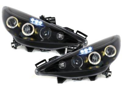 Фары передние Angel Eyes Black на Peugeot 207