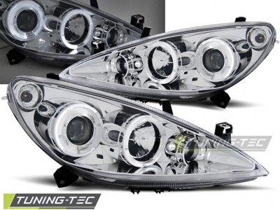 Фары передние LED Angel Eyes Chrome от Tuning-Tec на Peugeot 307