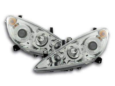 Фары передние LED Angel Eyes Chrome на Peugeot 307