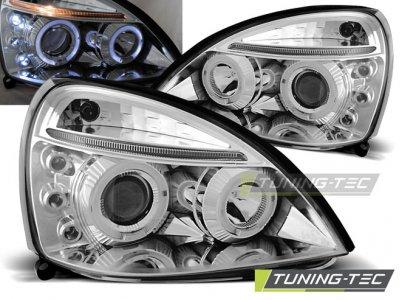 Фары передние Angel Eyes Chrome от Tuning-Tec на Renault Clio II рестайл