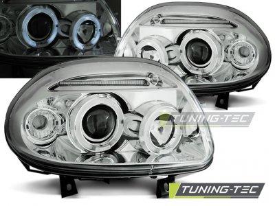 Фары передние Angel Eyes Chrome от Tuning-Tec на Renault Clio II