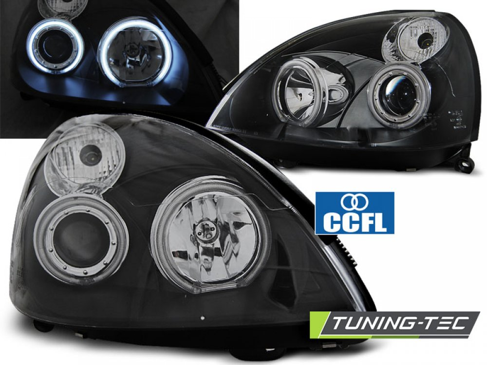 Фары передние CCFL Angel Eyes Black Var2 от Tuning-Tec на Renault Clio II рестайл