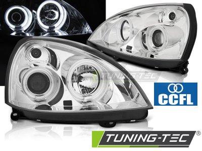 Фары передние CCFL Angel Eyes Chrome от Tuning-Tec на Renault Clio II рестайл