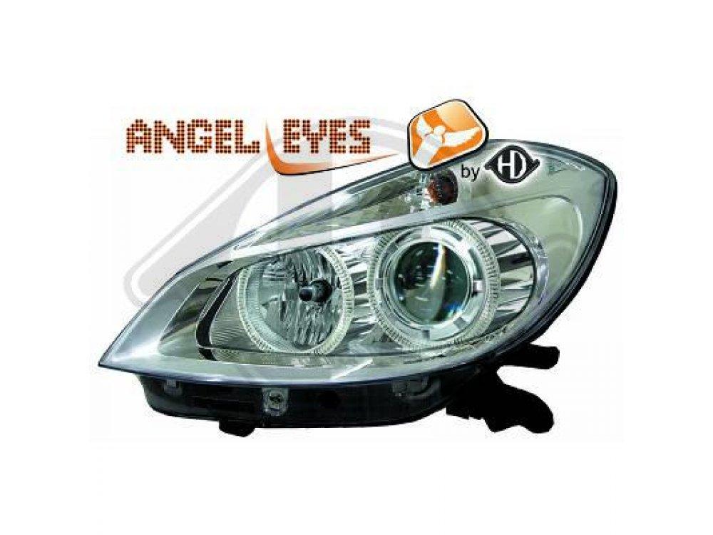 Фары передние Angel Eyes Chrome от HD на Renault Clio III
